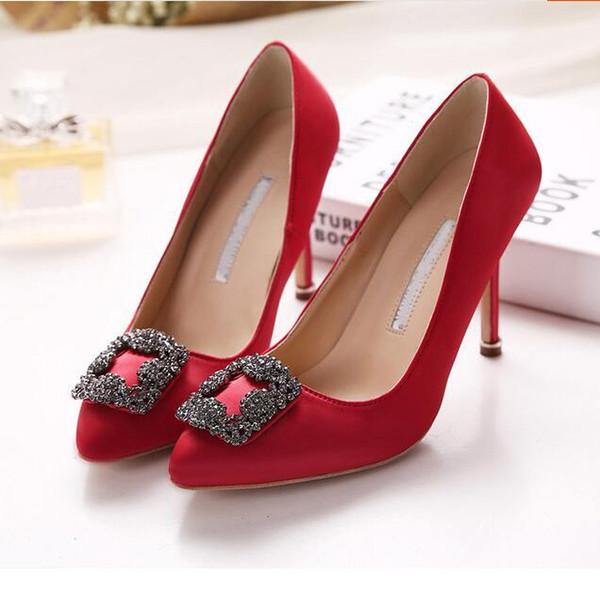 Hot Sale-marca mercerizzato denim scarpe da sposa genuino argento di seta strass tacchi alti women039; s nozze scarpe bmen Scarpe Sapato feminino