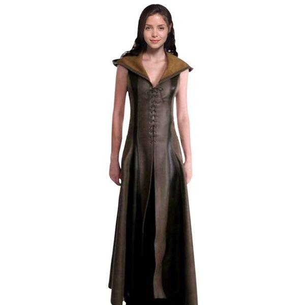 Mujeres Moda Sexy Slim Lace Up Cuero Medieval Ranger Vestido largo Abrigos adultos Cosplay Disfraz Mujer Disfraz Halloween SH190908