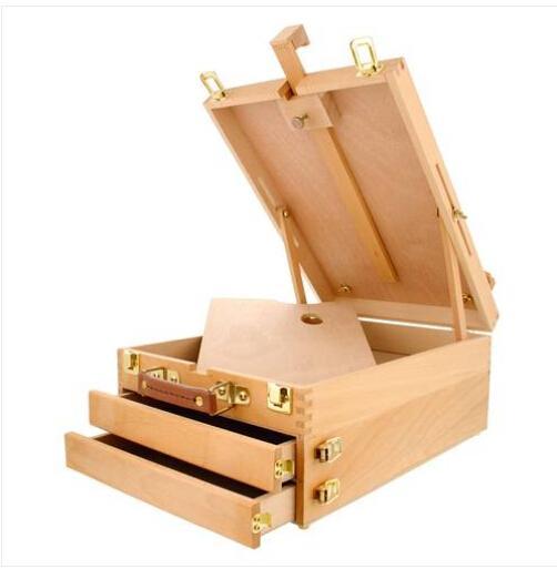 Großverkauf Freies Verschiffen HBX-30 3 Schichten beweglicher Platz zeichnen ringsum Tischplattenbuchen-Farben-Kasten Burlywood