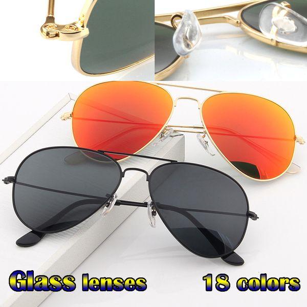 top popular Vintage Pilot Men Women 58mm 62mm UV400 Aviation mirror Mirror Glass Lens Sunglasses With Cases Driving 2021