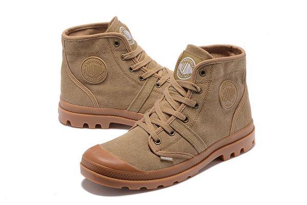 Venta caliente-PALLADIUM Pampa Hi Army verde zapatillas cómodas botines de alta calidad con cordones de lona para hombre zapatos casuales zapatos de diseñador EU39-45