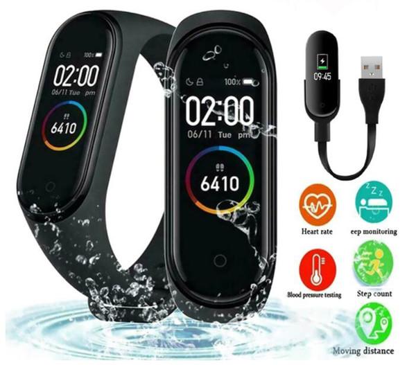 M4 Akıllı Bant Spor Izci Izle Spor bilezik Kalp Hızı Akıllı İzle Fitbit 0.96 inç Smartband Monitör Sağlık Bileklik PK mi Band 4