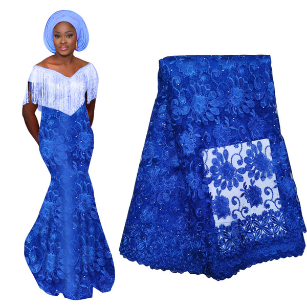 New Arrival Royal Blue African Lace Fabric With Beads High Quality French Nigerian Tulle Lace Fabric For Wedding