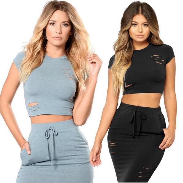 2019 Date Hot Streetwear Femmes Set Trous Bandage Moulante Sans Manches Crop Top Soirée Courte Mini Robe Plus La Taille S-2XL