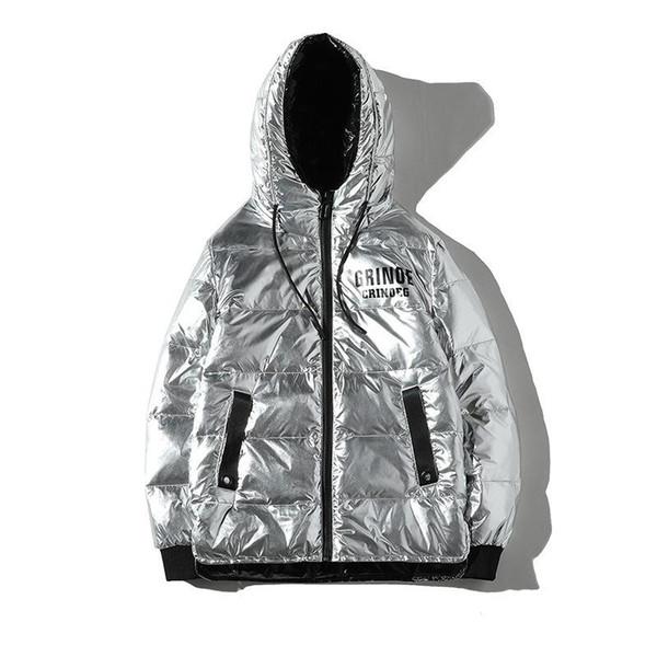 Hombres brillantes invierno por la chaqueta masculina de pato blanca Escudo de novia informal espesantes con capucha Prendas de abrigo SILVER XXXL XXL