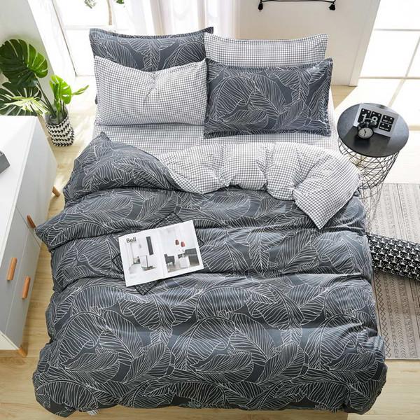 Conjunto de cama casa de moda folha de capa de cama de luxo fronha listras onduladas têxtil de casa família roupa de cama de alta qualidade
