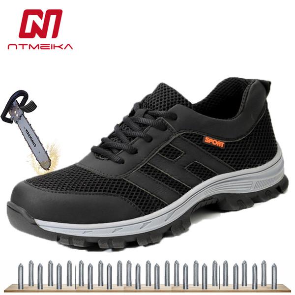 leve sapatos de segurança respirável biqueira de aço trabalhos de malha homens sapatos da moda tênis anti-esmagamento dimensionar 36-45 MB222