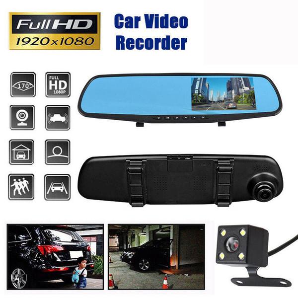 4.3 '' HD Dual Lens Car DVR Dash Cam Cámara delantera y trasera Espejo Grabadora de video Dashcam Auto Voiture Registrator Adas