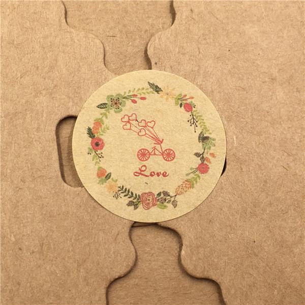 600 Teile / los Braun Kreatives Papier Aufkleber selbstklebend Kein Kleber Kreis Verschiedene Stile Herz Liebe Kraftpapier Aufkleber Abdichtung