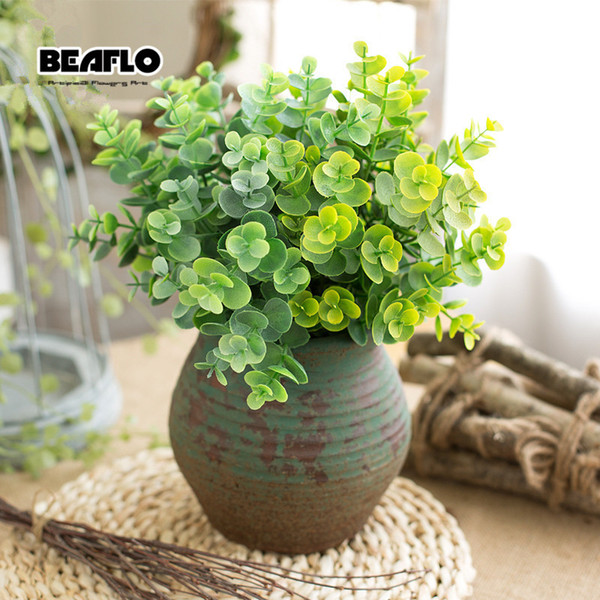 1pc green artificial leaves small eucalyptus leaf plants wall material decorative fake plants for home shop garden party decor