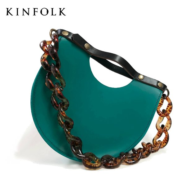Ins Acrylic Chains Semicircle Saddle Bags for Women Handbags Casual PU Leather Shoulder Bags Lady Girls Small Phone Purse Bolsa