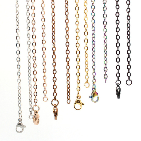 Jewelry & Accessories 18'' 20'' 24'' 28'' 32'' 2.5mm gold  rose gold black 316 Stainless Steel Cable Chain Pendant Necklace