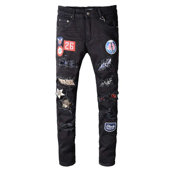 American Style Ripped robin Jeans For Men New Black Color Patches Denim Elastic Skinny Pants Designer Famous Brand Mens biker jeans 29-40