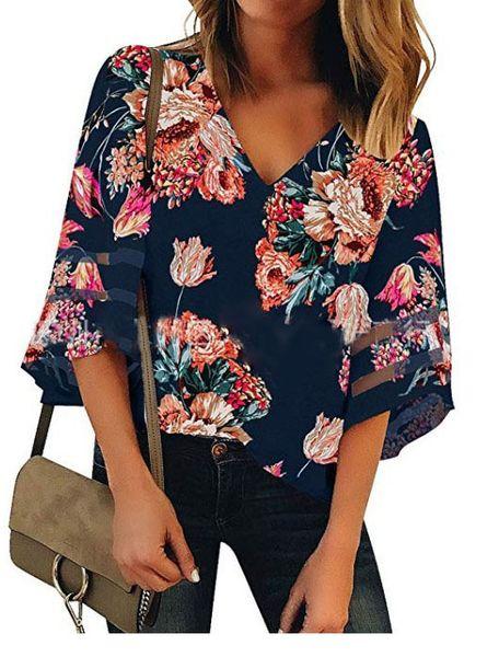Designer Femmes T-shirt Col V En Maille Patchwork Manches Évasées Rayé Imprimer Fleur Imprimer Mode Casual Respirant Femmes Shirt