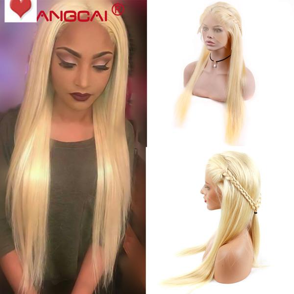 İşlenmemiş remy virgin İnsan saç yeni ipeksi düz uzun beyaz kadınlar için # 613 tam ön dantel ipek üst peruk