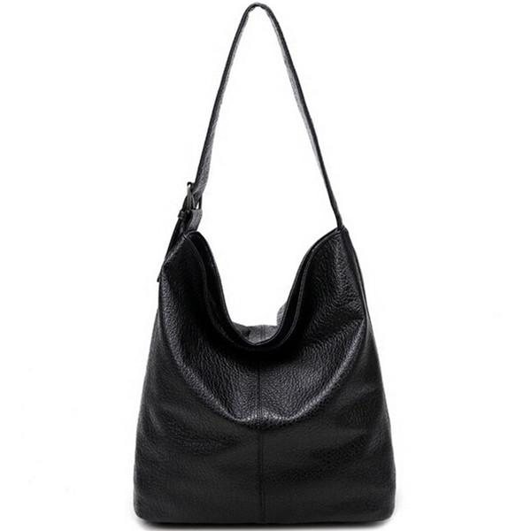 Schlichtes Design Casual Damen Tasche aus weichem Leder Hobo Handtasche für Office Damen European Fashion Große Kapazität Schwarz Braun Bolsas # 94257