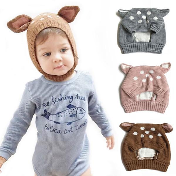 Nette Deer Ohren Baby Mädchen Hut Knit Weiche Baby Mütze Warme Winter Hüte Beanie Cap Neugeborenen Jungen Hut baby muts Foto Requisiten