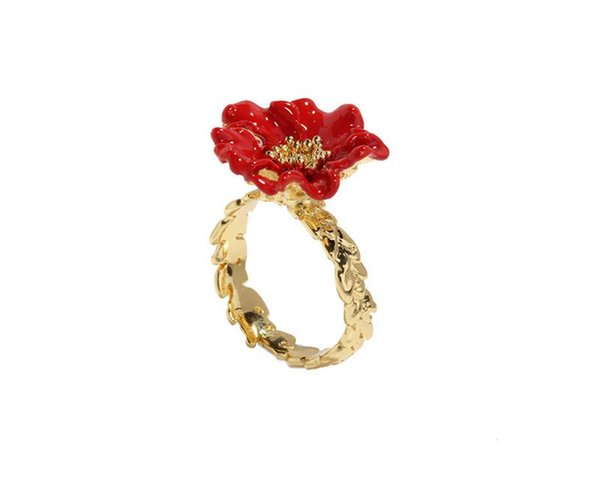 2019 New Gold color Field series Red poppies flower inlaid colored gem Ring Jewelry