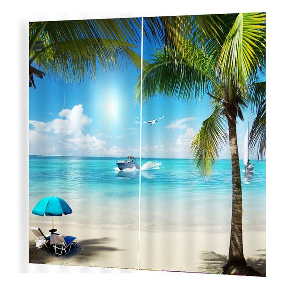 Plage de sable Imprime Salle Rideau 3d Rideau Fenêtre Drapés BJQ-1280 (13) 150 * 166cm Tendance Salon Chambre Blackout