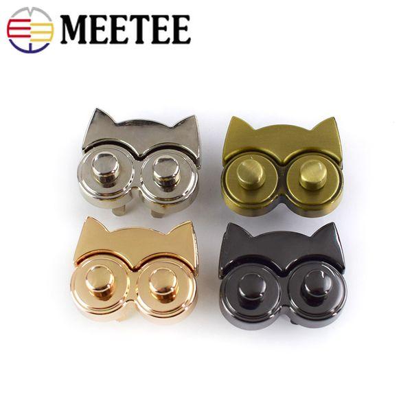 Meetee Owl Metal Twist Turn Lock Women Bag Lock Snap Bag Decorative Buckles Clasps Closure Luggage Hardware Accessories