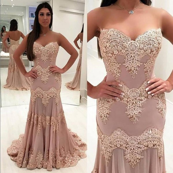 Blush Pink Prom Evening Dresses Mermaid Long Sweetheart Neckline Sleeveless Floor Length Applique Lace Cocktail Party Dress Evening Gowns