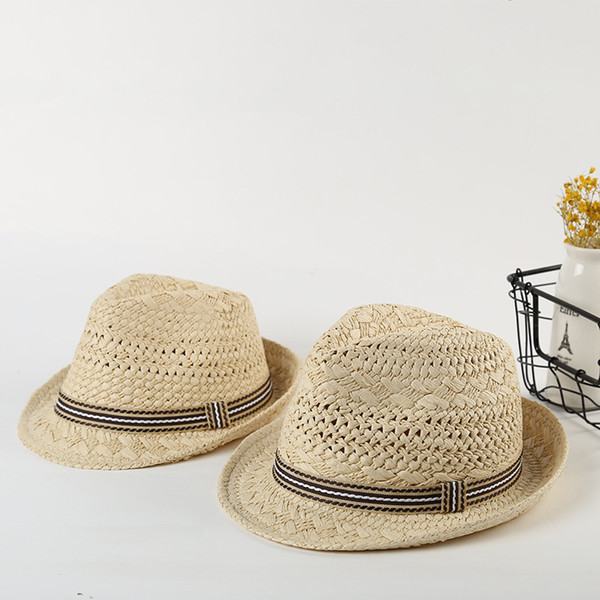 Hot Solid Straw Sun Hat For Men Summer Sweet Retro Kid Straw Hats Beach Panama Parent-child Hat Boy Sun Hats