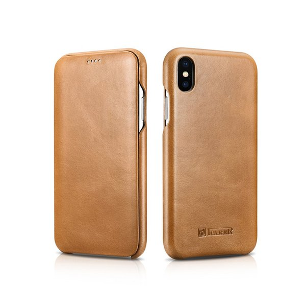 ICARE Vintage Premium Genuine cowhide Leather Flip Folio back cover Case for iPhone XS max mobile phone