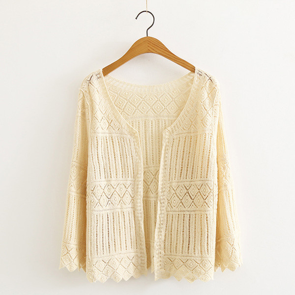 WYNNE GADIS Spring Hollow Out Sun Protection Clothing Coat Knitted Lace Embroidery Long Sleeve Cardigan for Women's Top Clothing