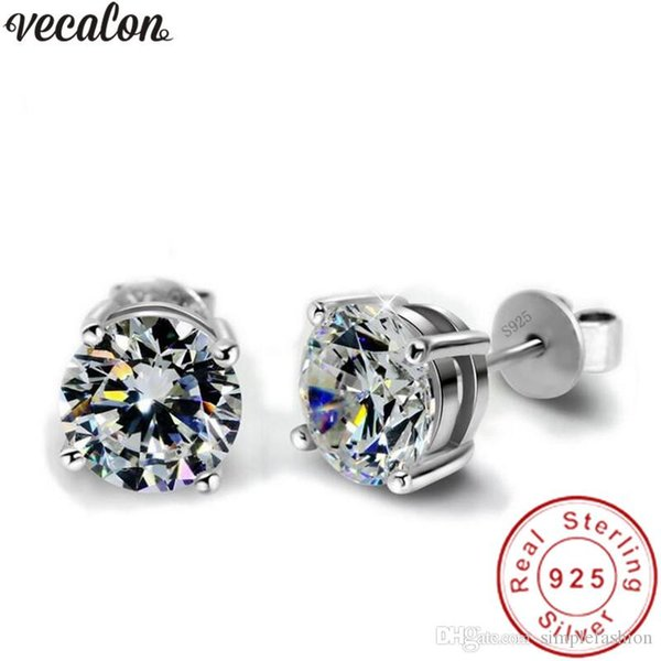 Vecalon Handmade 4 claws earring 3ct Dianond 925 Sterling silver Engagement wedding Stud Earrings for women men