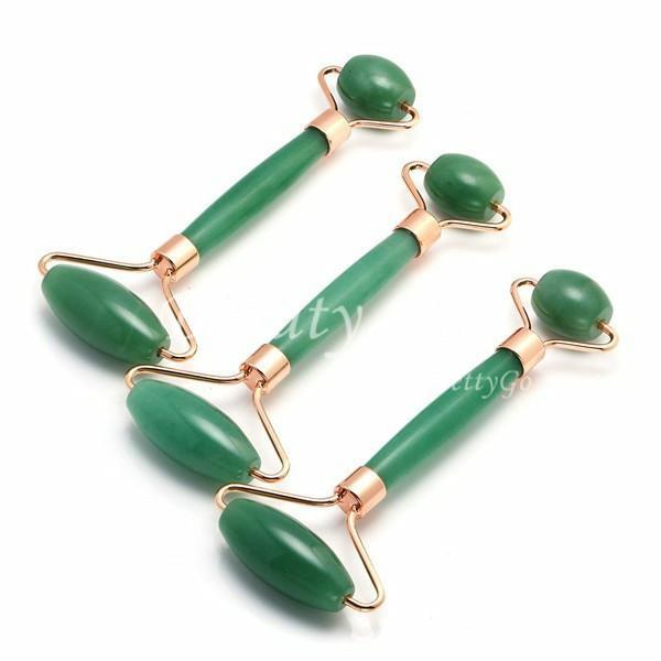 MOQ 1PCS Beleza pele cuidados dispositivos jade massageador verde casa massageador frias produtos rolo de jade de saúde verdes do rolo facial, ePacket