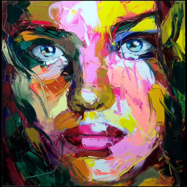 Francoise Nielly Palette Knife Impression Home Artworks Modern Portrait Handmade Oil Painting on Canvas Concave and Convex Texture Face187