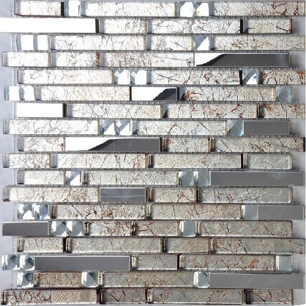 Stainless steel tile glass mosaic kitchen backsplash tile SSMT134 glass mosaic wall tiles