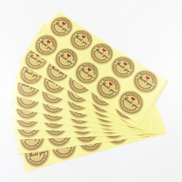 "500 Pcs/lot Retro ""Thank you"" Round Kraft Seal sticker For handmade products ""Handmade with Love"" stickers Label Wholesale"