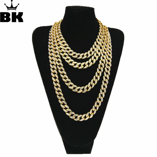 Hiphop Gold Silver 15mm Choker Cuban Chain Mens 18inch 20inch 24inch 30inch Miami Cuban Link Chain Blingbling Jewelry Y19050901