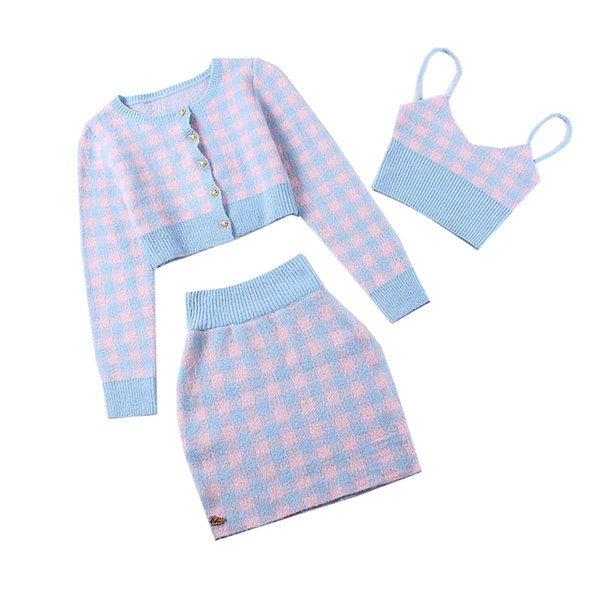 wholesale 2018FW Warm Knitted 3 Pieces Suits Stylish Plaid Slim High Rise Short Jacket Spaghetti Strap