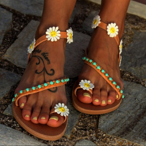 Summer Women Shoes Flat Heels Gladiator Sandals Fashion Female Comfortable Sweet Flowers Boho Beach Sandals Plus Size 35-44