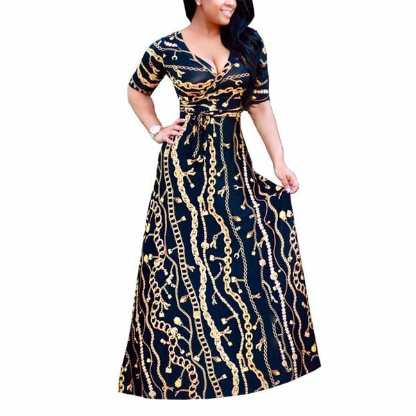 2017 New Arrival Women Maxi Dresses V-neck Half Sleeve Womens Fashion Iron Chain Print Long Party Dress D1150 J190621