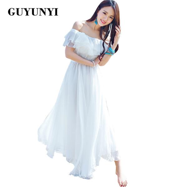 Guyunyi boho estilo longo dress mulheres fora do ombro praia verão vestidos strapless chiffon branco maxi dress vestidos de festa cx585 y19071001
