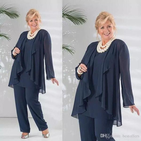 Gelin Pant 2020 Zarif Anne Koyu Lacivert Üç adet Şifon Uzun Kollu Ceket Pantolon Suit Plus Size Düğün Misafir kıyafete uygun