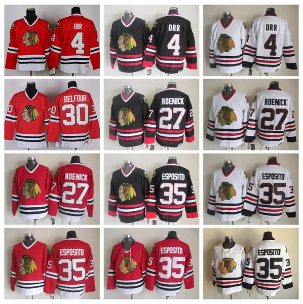 Herren Hockey Chicago Blackhawks 4 Bobby Orr Trikot Vintage 35 Tony Esposito 27 Jeremy Roenick 30 Ed Belfour Vintage CCM Schwarz Weiß Rot