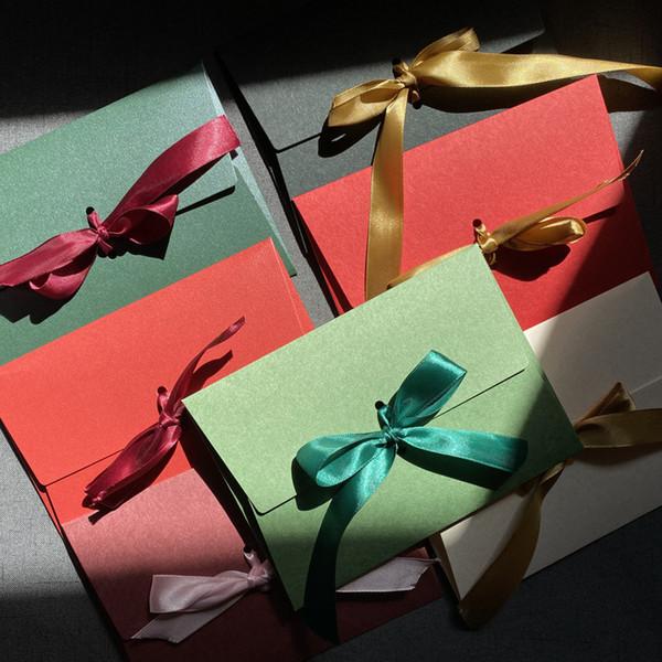 40pcs / lot regalo busta Letter Paper Butterfly-nodo Nozze Lettera sciarpa di New Silk Ribbon fai da te Festival, Maschera Imballaggio