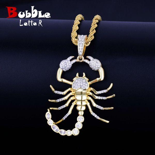 Scorpion animal Hip Hop pingente com ténis de Corrente de Ouro Cor Prata Bling Cubic Colar de Homens Zircon jóias para presente V191128