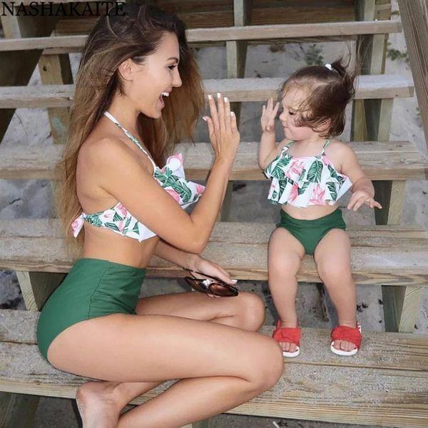Nashakaite Anne Ve Kızı Yaz Ruffled Yaprak Baskı Bikini Set Aile Eşleşen Mayo Aile Bak Mayo Anne Kızı Y19051504