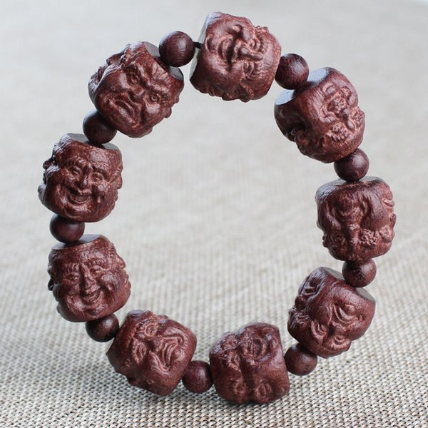 Violet Carving Erawan Shrine Walnut Pixiu Bracelets Purple Perilla Wood Rose Ebony Crafts Men's Buddhist Prayer Bead Couples Bra
