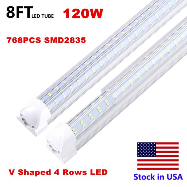 8FT 120W V 4 Rows Clear Cover