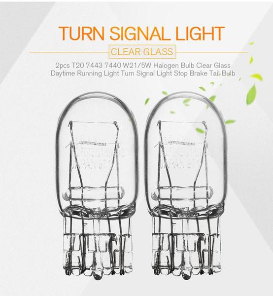 2pcs T20 7443 7440 W21/5W Halogen Bulb Clear Glass Daytime Running Light Turn Signal Light Stop Brake Tail Bulb DRL Bulbs 3800K
