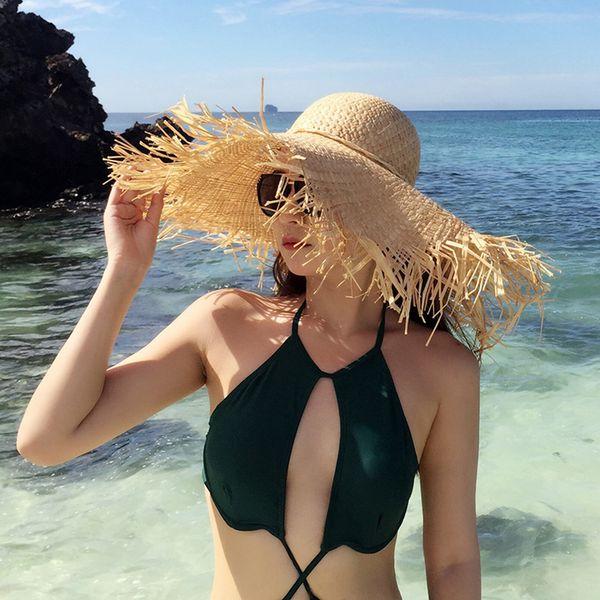 Womens Summer Caps Beach Visors Sun Hats for Women Beach Caps Wide Brim Hat Floppy Female Raffia Straw Hat 2019 New