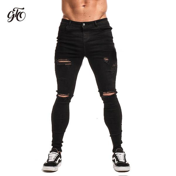 Compre Gingtto Negro Flaco Jeans Rotos Para Los Hombres De Super Aerosol En El Tobillo Tight Medio Cintura Moda Streetwear Del Estilo Pantalones Vaqueros Hombre Zm04 Y190418 A 42 83 Del Zhengrui04