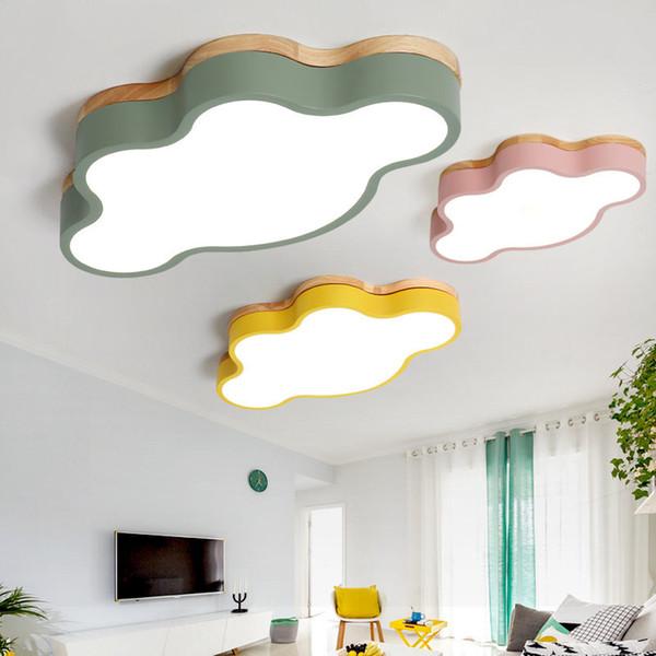 lampade Nordic creativo log camera da letto della lampada ragazzo bambini semplici camera ragazza macaron nuvola plafoniera a LED