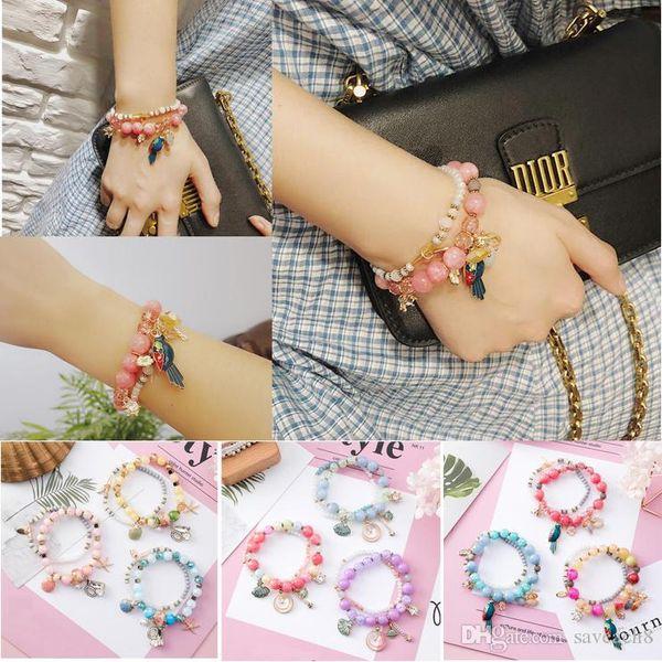 Double Layer Crystal Charm Bracelets&Bangles Starfish shells Pendants Rhinestone Beads Bracelet for Christmas Party Gifts